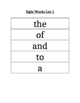 PAWS Sight Words (List 1)