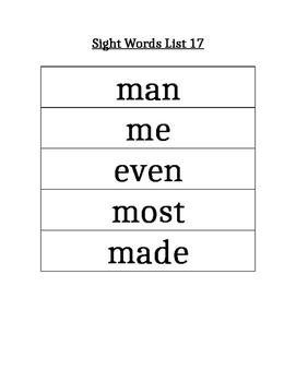 PAWS Sight Words (List 17)