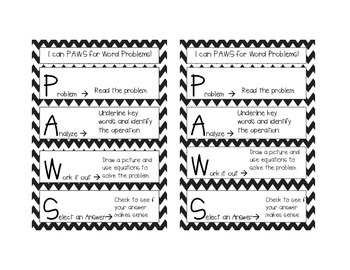 PAWS Word Problem Acronym Handout