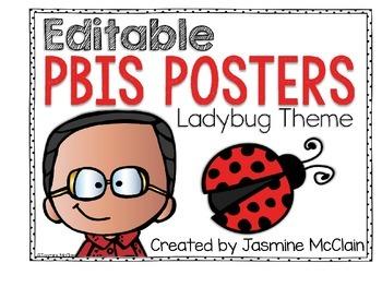 EDITABLE PBIS Posters-Ladybug Theme
