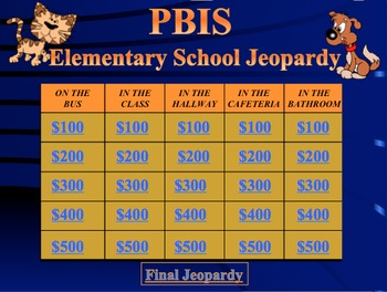 PBIS ELEMENTARY JEOPARDY GAME