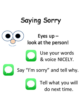 PBIS Poster Behavior Management: Saying Sorry