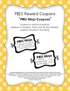 PBIS | Reward Coupons | Ninja Themed