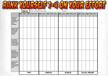 PBIS Traits Daily Reflection and Attendance Tracking Form