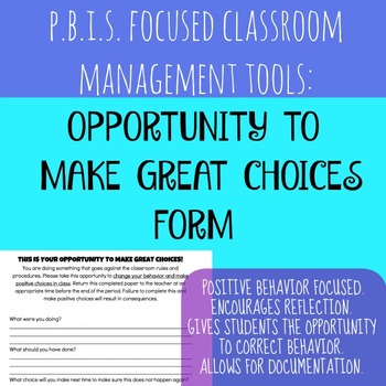 PBIS WARNING - OPPORTUNITY TO MAKE GREAT CHOICES