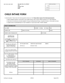 Child PDF and DOCX forms for Pediatric Private Practice in