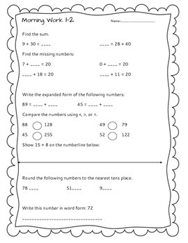 *FREEBIE* Week 1 Morning Work Printable