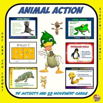 "PE Activities: ""Animal Action""-  25 Animal Movement Signs"