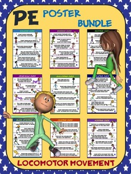 PE Poster Bundle: Locomotor Movement- 9 Movement Cue Posters
