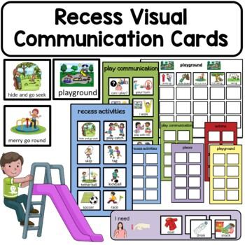 PECS Recess Portable Communication Cards. Autism and Speec
