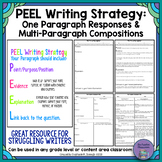 PEEL Writing Strategy: Short Responses and Multi-Paragraph