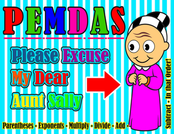 PEMDAS - Please Excuse My Dear Aunt Sally - POSTER
