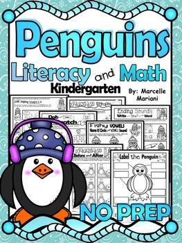 PENGUINS Literacy & Math No Prep Kindergarten 65+ Printabl