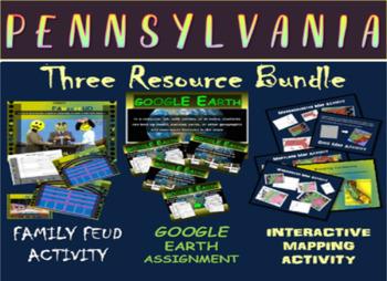 PENNSYLVANIA 3-Resource Bundle (Map Activty, GOOGLE Earth,