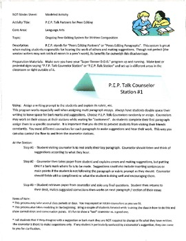 P.E.P. Talk Counselors - Peer Essay Editing and Conferenci