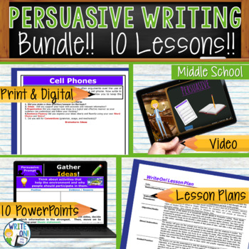 PERSUASIVE WRITING PROMPTS BUNDLE!!! - 10 LESSONS!!!!! - M