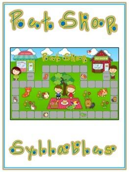 PET SHOP Syllables - ELA First Grade Folder Game - Word Wo