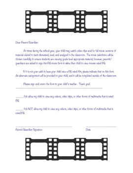 PG Movie Permission Slip