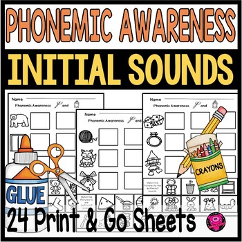 INITIAL SOUNDS PHONEMIC AWARENESS CUT and PASTE PRINT and