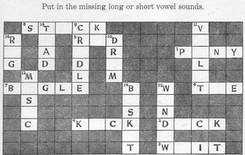 CROSSWORD PUZZLE Phonics: Short & Long Vowels - 9 Letter A