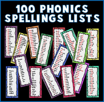 PHONICS SPELLINGS LISTS / SIGHT WORDS SPELLINGS / BOOKMARKS