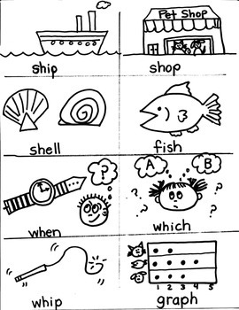 PHONICS TARGETS  /SH/   /CH/   /TH/   /WH/  /PH/   for  FI