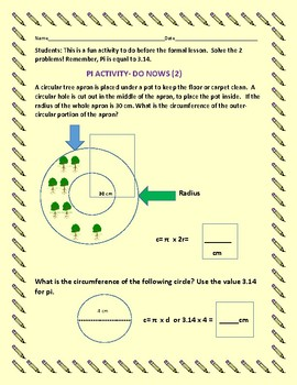 PI DAY: DO NOW ACTIVITY: This is a 2 problem geometry acti