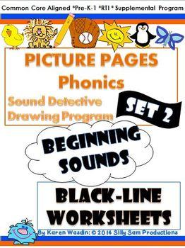 PICTURE PAGES Phonics Program Set 2 BEGINNING SOUNDS BLACK-LINE