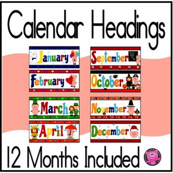 PIGS  12 MONTHS  CALENDAR HEADINGS