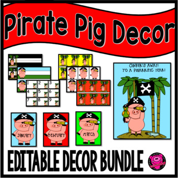 PIGS CLASSROOM DECOR SET in PIRATE THEME