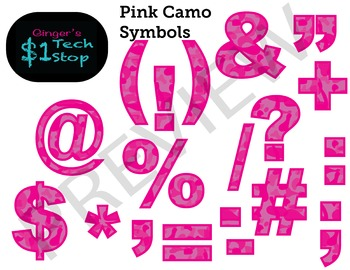 PINK CAMO * Bulletin Board Letters * Symbols * Punctuation