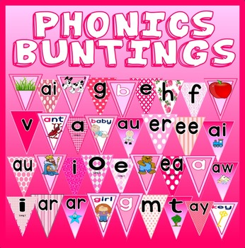 PINK PHONICS DISPLAY POSTERS TEACHING RESOURCES LITERACY E