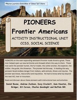 PIONEERS Frontier Americans Social Studies Unit Boone Croc