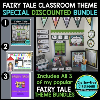 FAIRY TALE THEME Decor - 3 EDITABLE Clutter-Free Classroom