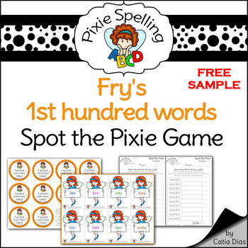 Spelling - Fry 1st hundred words SPOT THE PIXIE GAME