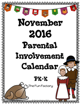 PK/K November Homework Calendar