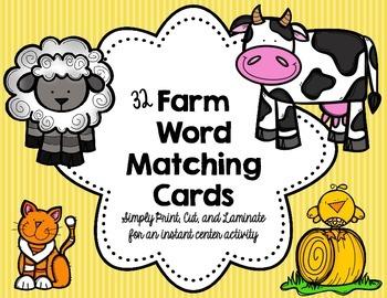 PK/K: Farm Animal Word Matching Cards (Set of 32)