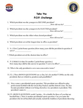 POP Challenge with answer key: Parade of Presidents