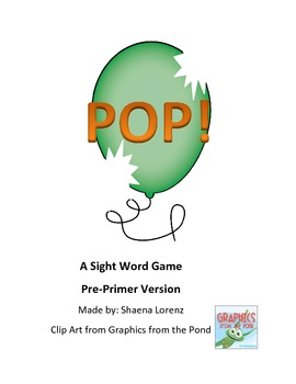 POP Sight Word Game (Pre-Primer)