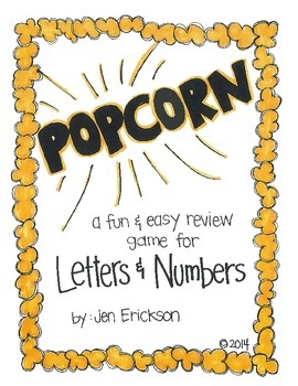 POPCORN!  Letters and Numbers