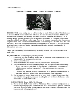PORTFOLIO PROJECT – THE LESSONS OF SCHINDLER'S LIST