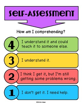 FREE Student Self-Assessment Levels of Understanding