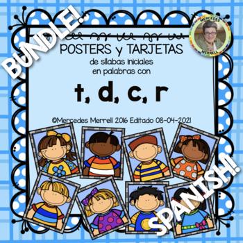 POSTERS y TARJETAS de sílabas iniciales en palabras con t,