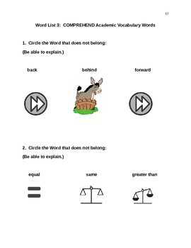 POWER IN WORDS KINDERGARTEN COMMON CORE VOCABULARY ACTIVITY BOOK