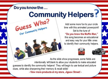 POWERPOINT Community Helpers - Identification Practice and