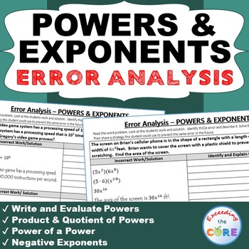 POWERS & EXPONENTS  Word Problems -  Error Analysis  (Find
