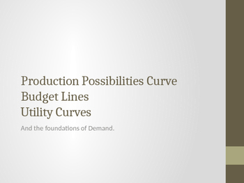 "PPC, Budget Lines, Utility Curves, ""The origin of Supply a"