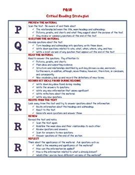 PQ5R Critical Reading Strategies Sign