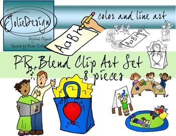 PR Blend Phonics Clip Art Set - Color and Line Art 8 pc set