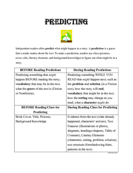 PREDICTING Comprehension Strategy